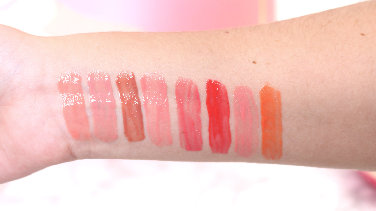 gloss sweet peach too faced swatches teintes