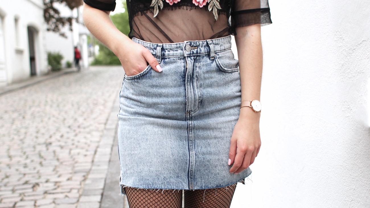jupe taille haute jean