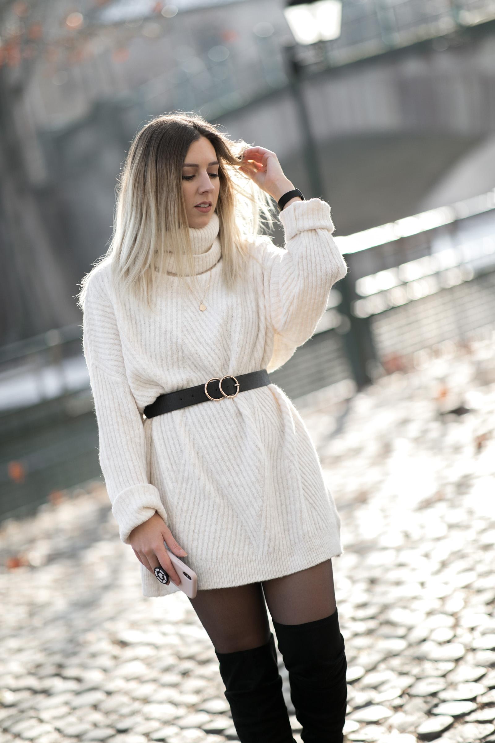 tenue blanche manteau moumoute robe pull